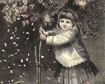 Playmates Engraving, Antique 1879 Victorian Art Print, Pretty Little Girl Shaking a Tree and a Cat, FREE SHIPPING