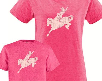 Matching Mother Daughter Shirts, Mommy and Me Rodeo Horse Set T shirts, gift, mom child, mom shirt, mother daughter or son, gift for mom,
