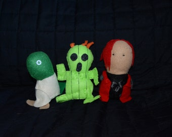 Sale - Hand Sewn Tonberry, Cactar and Genesis Rhapsodos from Final Fantasy Felt Plushies