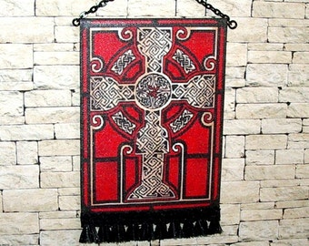 Celtic Cross Tapestry, Red & Black Cross Wall Hanging, Medieval Dollhouse Miniature, 1/12 Scale, Hand Made