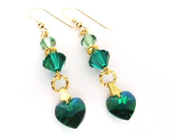 Emerald Green Heart Earrings, Holiday Gift Jewelry, Swarovski Crystal May Birthstone Jewelry, Heart Jewelry Gift for Her, Gold Filled