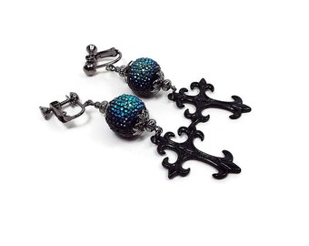 AB Blue Black Clip on Cross Earrings Goth Gunmetal Plated Biker Rocker Screw Back Dangle