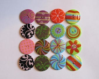Button destash - lot of 16 decorative fancy large 2 hole buttons in various color and patterns rainbow blue green brown pink orange black