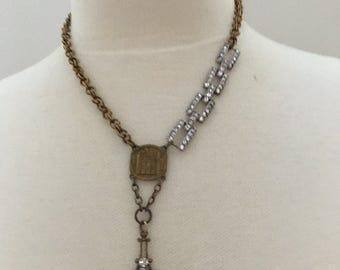Paris Necklace Vintage Assemblage Necklace Notre Dame Necklace repurposed necklace