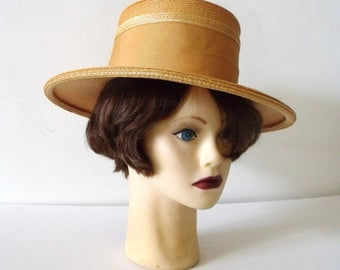 1940's CECELIA Wide Brim Straw Hat ~ WW2  Summer Woman's Hat