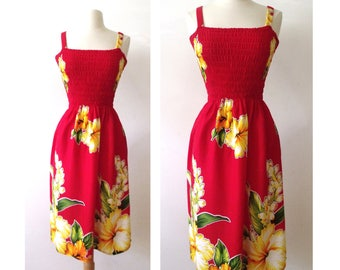 WILD ORCHID Red Hawaiian Sundress ~ Beach Resort Cruise Casual Spaghetti Strap Floral Summer Dress ~ Size Small
