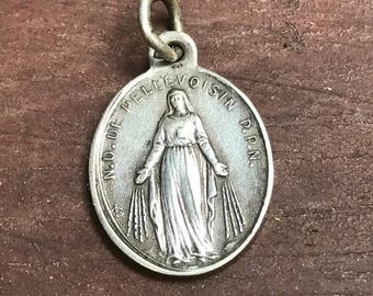 """Vintage French Our Lady of PELLEVOISIN Silver Religious Medal Pendant Jewelry on 18"""" sterling silver rolo chain"""