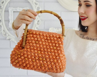 Vintage 1960s Orange Beaded Handbag with Wood Handles by Jana Made in Japan