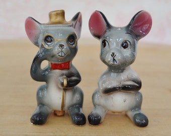 Vintage Mice Salt and Pepper Shakers One Wearing a Hat and Bow Tie Made in Japan
