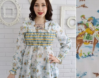 Vintage 1970s Smocked Blouse with Novelty Print in Blue and Yellow Size XS or Small