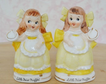 Vintage 1950s Little Miss Muffet Salt and Pepper Shakers by Relco Japan