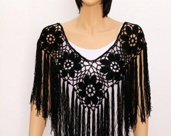 Black Shawl poncho cape  crochet shawl wedding wrap  wedding shawls Handmade Poncho