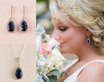 Crystal Bridal earrings  Dark Sapphire Blue Wedding jewelry, Crystal Wedding earrings, Cobalt Blue Bridal jewelry, Ariel Earrings