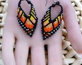 Monarch Butterfly Earrings - Orange Yellow Black Seed Bead Earrings - Drop Earrings - Beaded Earrings - For Her