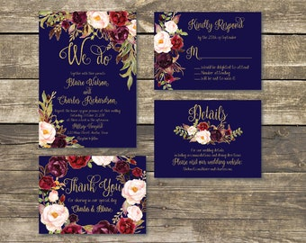 Printed Wedding Invitation - Fall Floral Watercolor Wedding - Navy / Gold / Burgundy / Marsala / Wine / Blush Rustic Wedding
