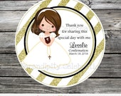 First Communion, Baptism, Confirmation, Religious, Set of 12 Personalized Favor Tags, Stickers, Thank You Tag, Gold Stripe, Cross, Bible