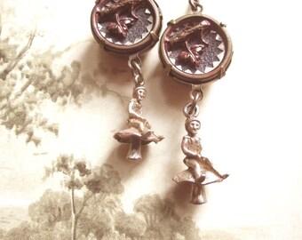 Elf Charm Assemblage Earrings / Antique Button Jewelry / OOAK / Mori Girl