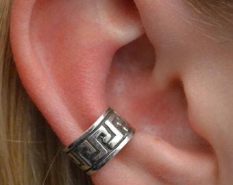 Greek Key Ear Cuff - No Piercing - Sterling Silver or 14K Gold Vermeil - Middle Fit