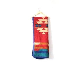 Vintage retro tan red southwestern blanket // tribal print blanket // aztec blanket // blue red navajo blanket // reversible blanket mexico