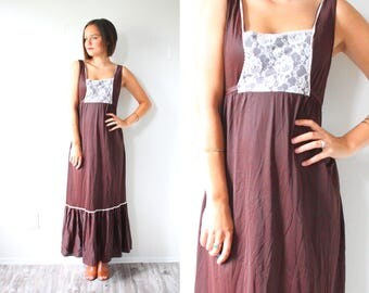 Vintage brown house on the prairie lace front dress // hippie boho 60's brown summer dress  SMALL// Brown mod 70's maxi floor length dress