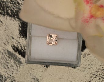 Peach Sapphire Radiant Cut Padparadscha Color for Engagement Ring 4.8 MM Square