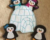 Felt Finger Puppets, Finger Puppets, Penguin finger puppets, Christmas Stocking Stuffers