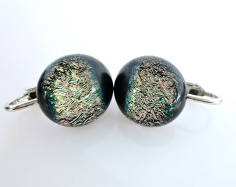 Clip On Dichroic Earrings Shimmer On Black Fused Glass
