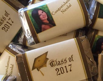 Graduation sweet 16, quinceanera Hershey's Miniatures, graduation party favors, graduation 2017,  photo custom chocolate bar. Set of 100