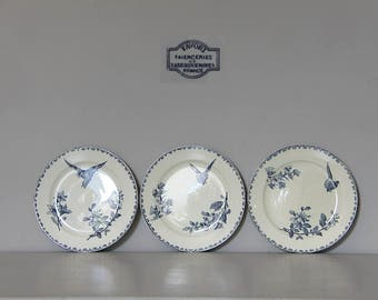 French Antique Blue Transferware Dessert Plates by Sarreguemines Favori, Pretty Birds and Flowers