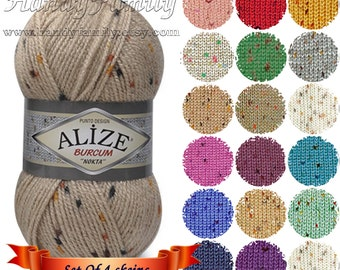 4 skeins Set Worsted heavy weight tweed yarn Alize Burcum Punto with small dots Beby yarn child friendly hypoallergenic soft Wholesale DSH