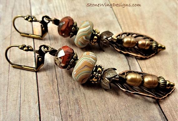Boho Leaf Earrings, Rustic Leaf Earrings, Nature Earrings, Leaves, Burnt Orange Earrings, Pearls, Metal Leaves, Copper, Tan