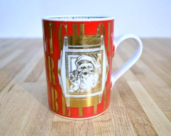 Vintage Christmas Coffee Cup Made Exclusively for Department 56 Christmas Time Santa You Better Watch Out Mug