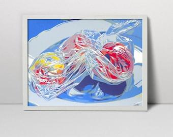 Apples in pastic bag serigraph - food screen print -food art - apple art work - fruits art - fruits wall decor - still life art - still life