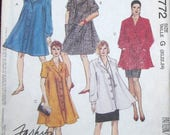 Vintage Sewing Pattern McCall's 5772 Swing Coat Trapeze Dress Smock Top, Skirt Womens Misses Size 18 20 22 Bust 40 42 44 Uncut Factory Folds