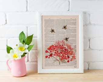 Summer Sale Bees with Geranium flowers Dictionary Page Book, Wall art print, Floral art, Bees Wall decor,  bee print art BFL001
