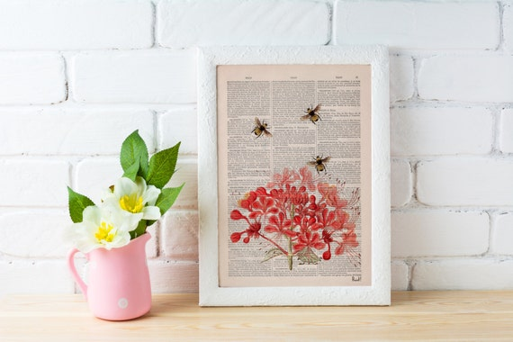 Spring Sale Bees with Geranium flowers Dictionary Page Book, Wall art print, Floral art, Bees Wall decor,  bee print art BPBB01