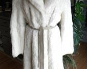 Long cream Lapin fur stroller / coat / outerwear