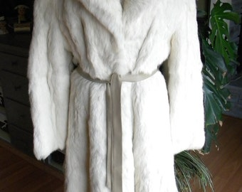 Long cream Lapin fur stroller / coat / outerwear