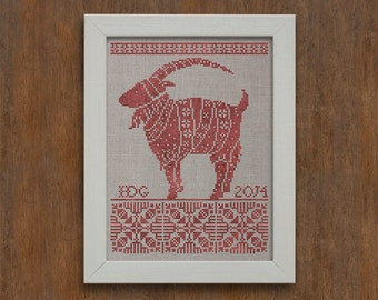 PDF Julbocken Christmas cross stitch patterns by Modern Folk at thecottageneedle.com monochromatic Nordic Scandinavian Winter goat ram