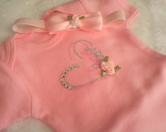 Baby Girl Pink coming home Bodysuit set
