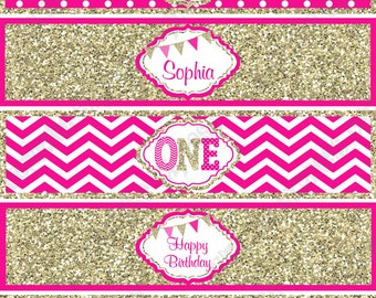 One First Birthday girl Hot pink gold PRINTABLE Water Bottle Labels Personalized  chevron polka dot glitter 1st birthday - 1032