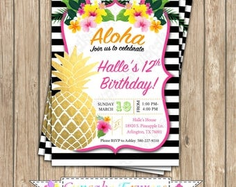 Pineapple Birthday Invitation, Printable, invite, luau, tropical birthday party, aloha, pink, black, gold pineapple, hawaiian invitation,