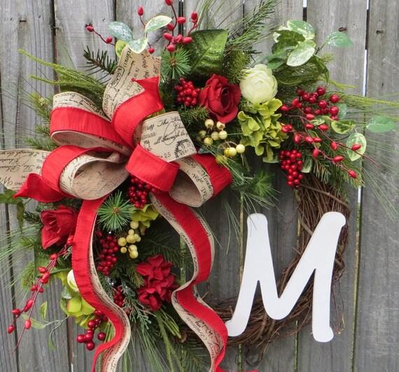 Christmas Wreath, Snowy Rose Garden Christmas Wreath, Hydrangea Christmas Wreaths, Monogram Christmas Wreaths, French Garden Christmas