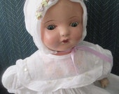 1930 Tin Eyes Mama Doll Composition Cloth Body Dressed