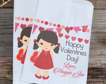Valentines Day Brown Haired Girl Personalized Goodie Cookie Paper Bags for Valentine Girl Party Favors, or Giveaways