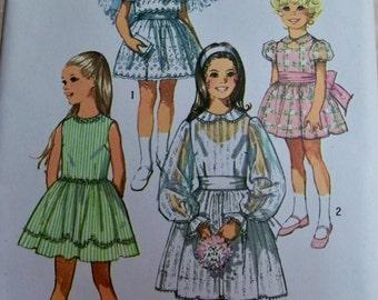 1971 Simplicity 9344 Size 6 Girls Dress Sewing Pattern Supply Gathered Peter Pan Collar Bridesmaid Flower Girls Dress Wedding Retro 70s u