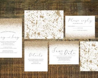 Printable Gold Wedding Invitation Suite   Metallic Invitations, Gold Invites, Gold Glitter, Wedding Invitation Set, Gold