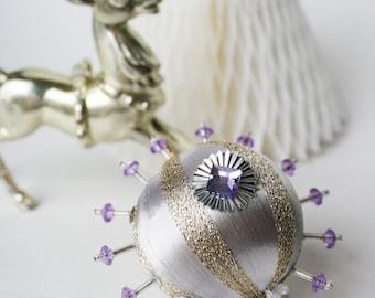 Lavendar & Glitter Gold Sequin Ornament by Distinguished Flamingo