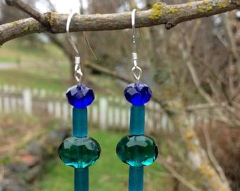 Teal Sea Glass, Swarovski and Glass Earrings