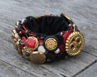 Steampunk Vintage Embroidered Button Bracelet, Med-Lg